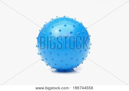 Blue spiny ball isolated on white background