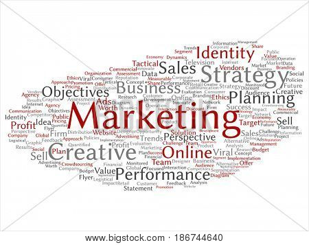 Conceptual development business marketing target abstract word cloud isolated background. Collage of advertising, strategy, promotion branding, value, performance planning or challenge text