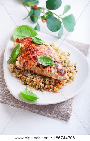 Grilled chicken breast  with quinoa and vegetables