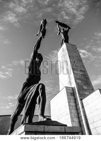 Bottom view of Liberty Statue on Gellert Hill in Budapest, Hungary, Europe. Black and white image.