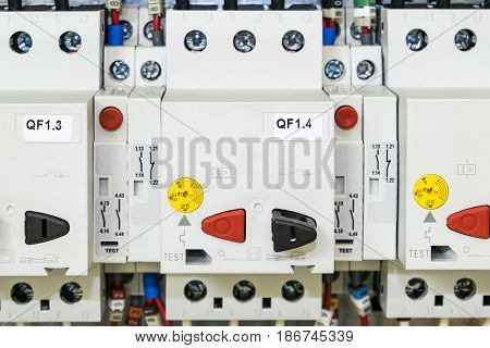 On the mounting panel of the electrical Cabinet is located a few circuit breakers motor protection. The telephones were connected to wires with ferrules and marking. Connected additional contacts.