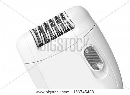 Modern epilator on white background, closeup