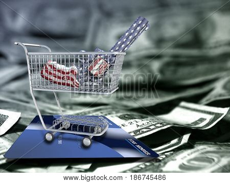 Gun in national colors in a cart. US dollars and credit card.   3D rendering