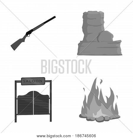 Winchester, saloon, rock, fire.Wild west set collection icons in monochrome style vector symbol stock illustration .