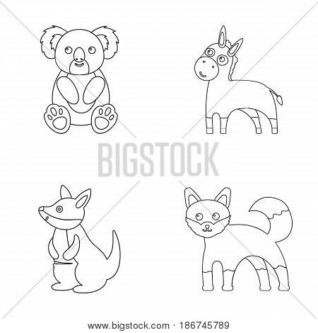 Koala, donkey, fox, kangaroo.Animal set collection icons in outline style vector symbol stock illustration .