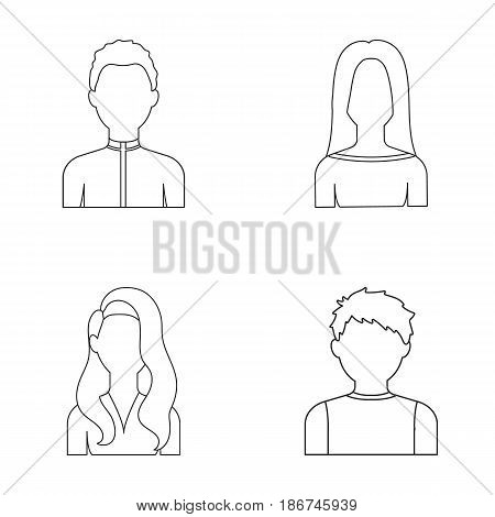 Boy teenager, woman curly, girl with long hair.Avatar set collection icons in outline style vector symbol stock illustration .