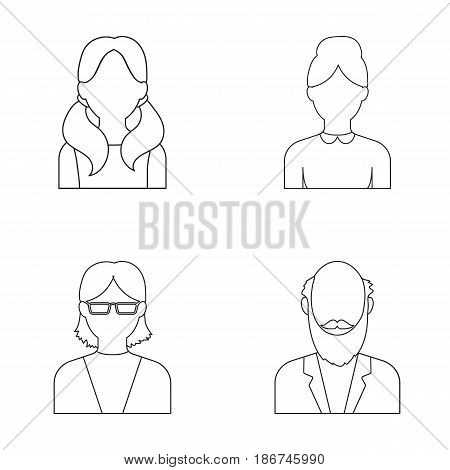 Boy, a woman with glasses, a grandfather with a beard, a girl with tails.Avatar set collection icons in outline style vector symbol stock illustration .