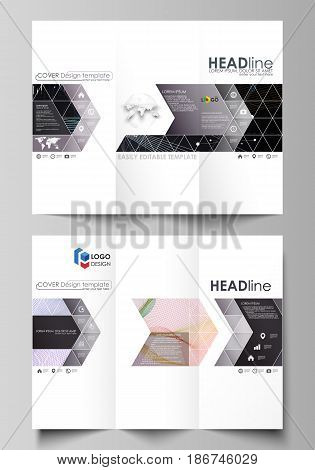 Tri-fold brochure business templates on both sides. Easy editable abstract vector layout in flat design. Colorful abstract infographic background in minimalist style made from lines, symbols, charts, diagrams and other elements.