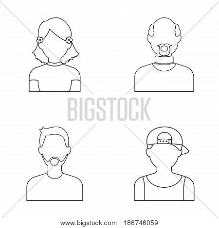A boy in a cap, a girl with pockets, a bald man, a man with a beard and a mustacheAvatar set collection icons in outline style vector symbol stock illustration .