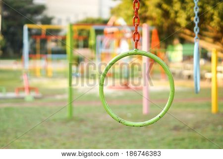 Colorful iron ring in the playground for kids