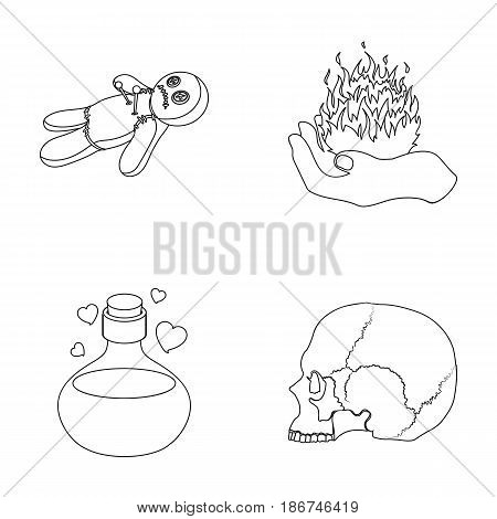 A voodoo doll, a magical fire, a love potion, a skull.Black and white magic set collection icons in outline style vector symbol stock illustration .