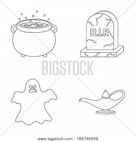 A witch's cauldron, a tombstone, a ghost, a gin lamp.Black and white magic set collection icons in outline style vector symbol stock illustration .