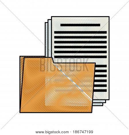 drawing folder file document security data vector illustration