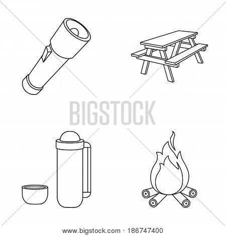 A flashlight, a table with a bench, a thermos with a cup, a caster. Camping set collection icons in outline style vector symbol stock illustration .