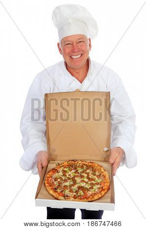 Pizza Chef. Isolated on white. Room for text. A Pizza Chef in his white chef outfit and white chef hat holds a fresh baked pizza.