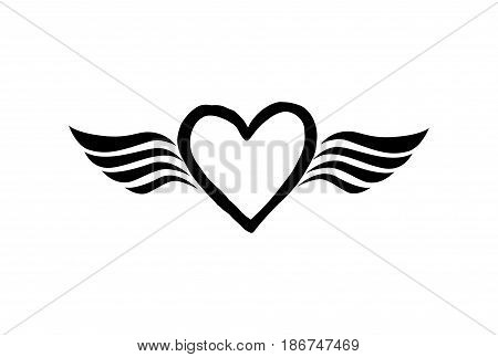 Love heart with wings. Valentine day icon. Lost love sign. Good for tattoo