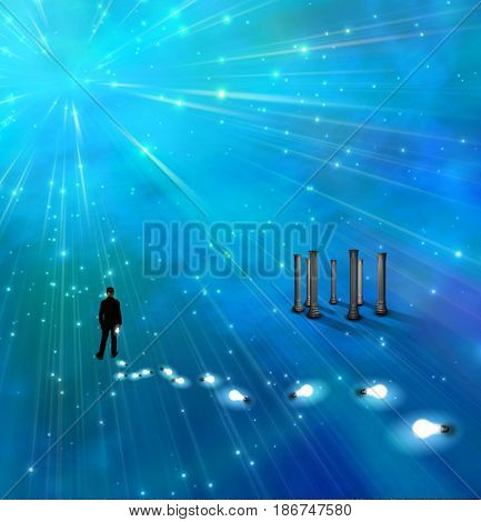 Surreal painting. Man stands in endless space. Light bulbs represents ideas.   3D rendering