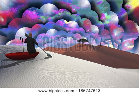 Surreal painting. Man in red umbrella floating on white desert. Figure of man in a distance. Multilayered spaces represents endless dimensions.   3D rendering  Some elements provided courtesy of NASA