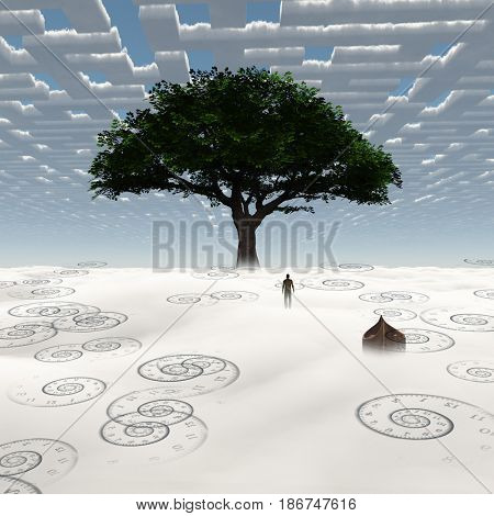 Surreal painting. Man stands before green tree.   3D rendering