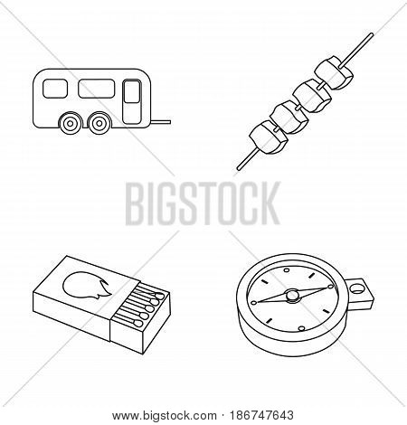 Trailer, shish kebab, matches, compass. Camping set collection icons in outline style vector symbol stock illustration .