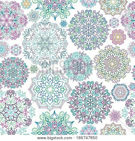 Floral ornament background Oriental ethnic design element Abstract geometric pattern for kaleidoscope medallion yoga indian arabic decor