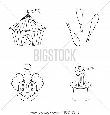 Circus tent, juggler maces, clown, magician's hat.Circus set collection icons in outline style vector symbol stock illustration .