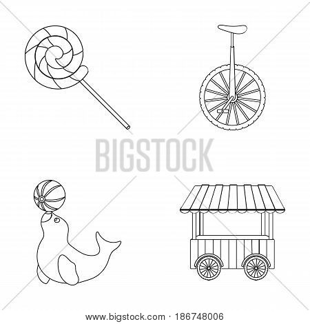 Lollipop, trained seal, snack on wheels, monocycle.Circus set collection icons in outline style vector symbol stock illustration .