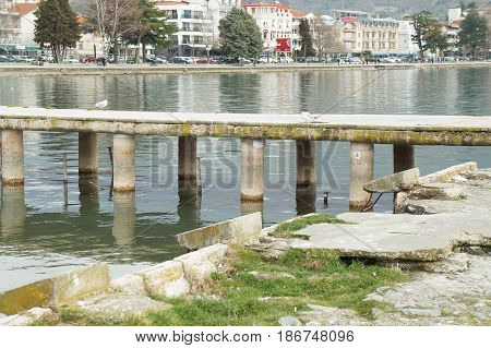 OHRID, MACEDONIA - MARCH 12, 2017: View onto the town from the lake