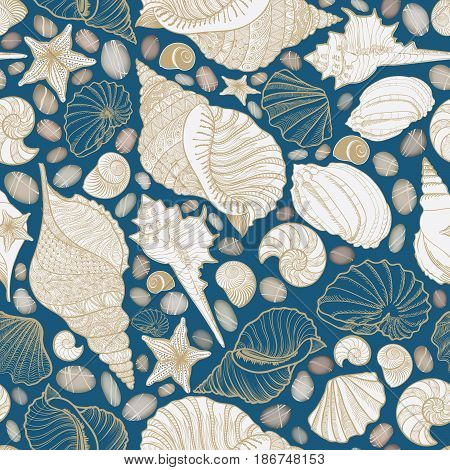 Seashell seamless pattern. Summer holiday marine background. Underwater ornamental textured sketching wallpaper with sea shells sea star and sand.