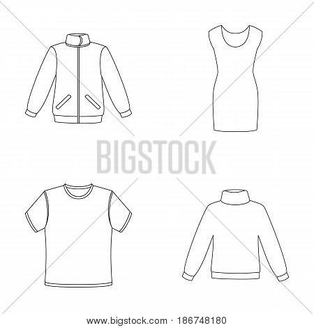 A mans jacket, a tunic, a T-shirt, a business suit. Clothes set collection icons in outline style vector symbol stock illustration .