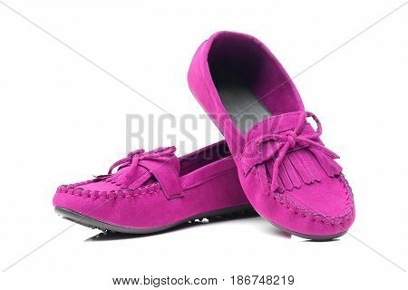 A pair of pink moccasins isolated on white