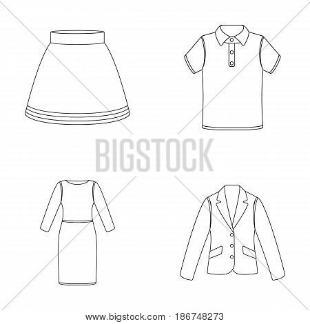 Skirt, t-shirt, sweater, dress with long sleeves.Clothing set collection icons in outline style vector symbol stock illustration .