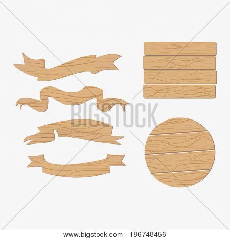 Wooden plank signs banner board round vector elements isolated on white background