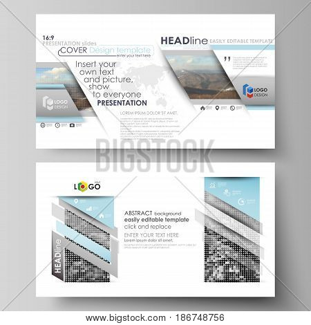 Business templates in HD format for presentation slides. Easy editable abstract vector layouts in flat design. Abstract landscape of nature. Dark color pattern in vintage style, mosaic texture.