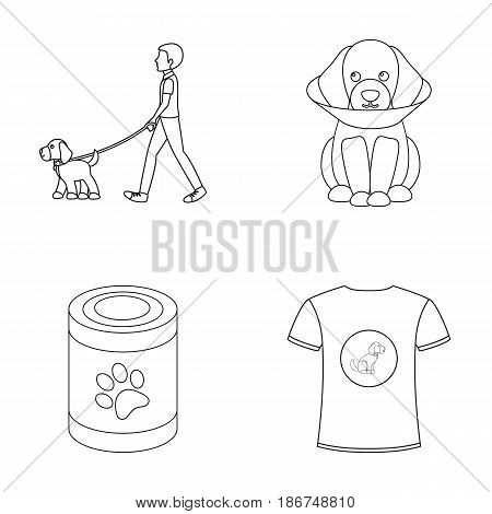 Walk, man, protection, collar, food.Dog set collection icons in outline style vector symbol stock illustration .