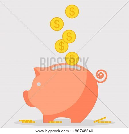 Pig piggy bank with coins Saving money box with dollar Vector illustration in flat style