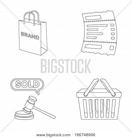 Bag and paper, check, calculation and other equipment. E commerce set collection icons in outline style vector symbol stock illustration .