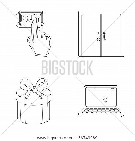 Hand, click, elevator, gift, box, door, online store and other equipment. E commerce set collection icons in outline style vector symbol stock illustration .