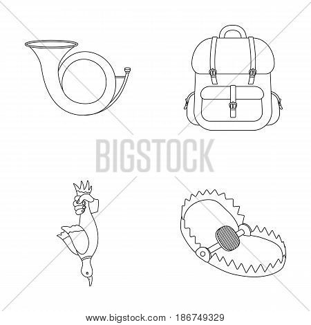 Horn, game in hand, backpack with things, steel cap.Hunting set collection icons in outline style vector symbol stock illustration .