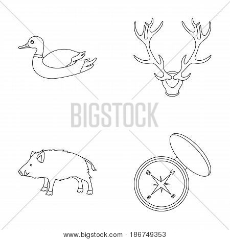 Duck, deer antlers, compass, wild boar.Hunting set collection icons in outline style vector symbol stock illustration .