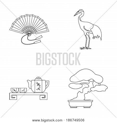 Fan, red crown crane, tea ceremony, bonsai.Japan set collection icons in monochrome style vector symbol stock illustration .