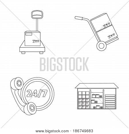 Warehouse, scales with a box, trolley for transportation, twenty-four-hour communication.Logistic set collection icons in outline style vector symbol stock illustration .