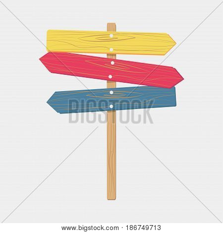 Wooden color signboards arrow sign empty signboard banner vector