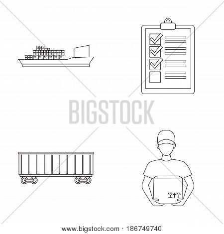 Cargo ship, documents, railway car, courier with box.Logistic set collection icons in outline style vector symbol stock illustration .