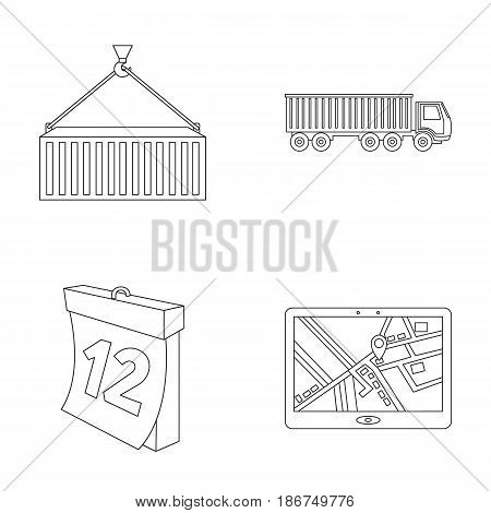 Metal container, calendar, truck, GPS navigator.Logistic set collection icons in outline style vector symbol stock illustration .