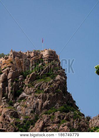 Afyon Turkey - May 12 2017: ancient historic castle in Afyon Turkey