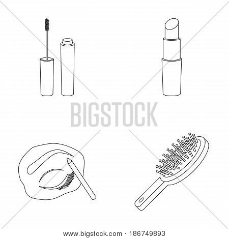 Mascara, hairbrush, lipstick, eyebrow pencil, Makeup set collection icons in outline style vector symbol stock illustration .
