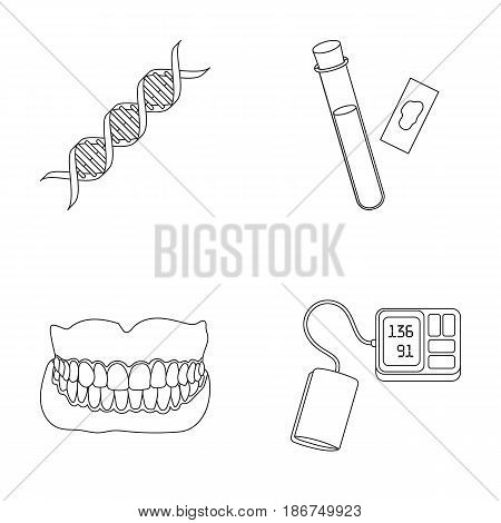 DNA code, blood test in vitro, denture, tonometer. Medicine set collection icons in outline style vector symbol stock illustration .
