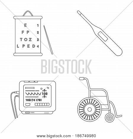 Table for checking eyesight, electronic thermometer, ECG device. Medicine set collection icons in outline style vector symbol stock illustration .