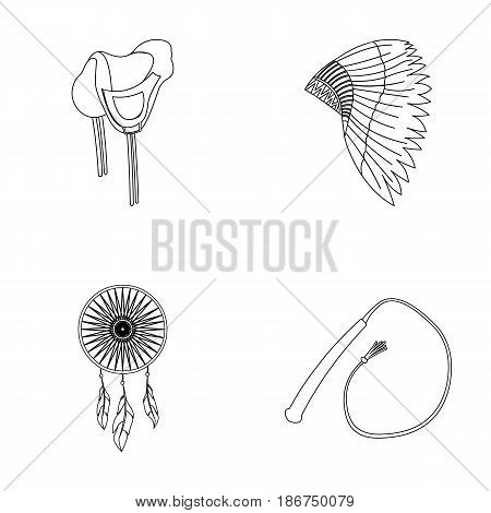 Saddle, Indian mohawk, whip, dream catcher.Wild west set collection icons in outline style vector symbol stock illustration .